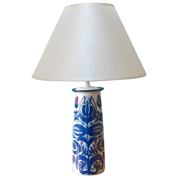 Danish Vase Table Lamp by Berte Jessen for Aluminia, Denmark, 1960s | From a unique collection of antique and modern table lamps at https://www.1stdibs.com/furniture/lighting/table-lamps/
