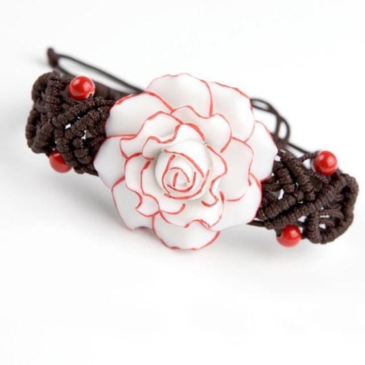 Ceramic Bracelet Vintage Jingdezhen Bangles Flower Pure Manual Weaving Rose Adjustable Rope Girls Gift Fashion Jewelry