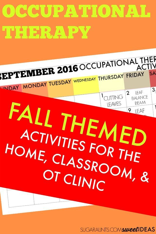 September Occupational Therapy activities and ideas for Fall themed treatment…