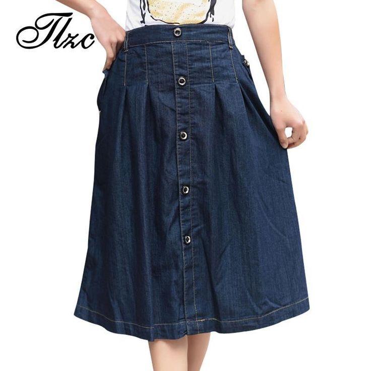 Tlzc Charm coréen Lady Casual Denim jupes Plus Size m 3xl 2015 nouvelle lâche Long conception femmes mode a ligne Jean jupe dans Jupes de Accessoires et vêtements pour femmes sur AliExpress.com | Alibaba Group