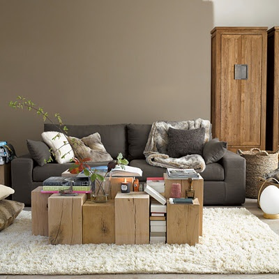 wood blocks for mini tables, textured area rug, neutrals with color from the books and a tendril of green