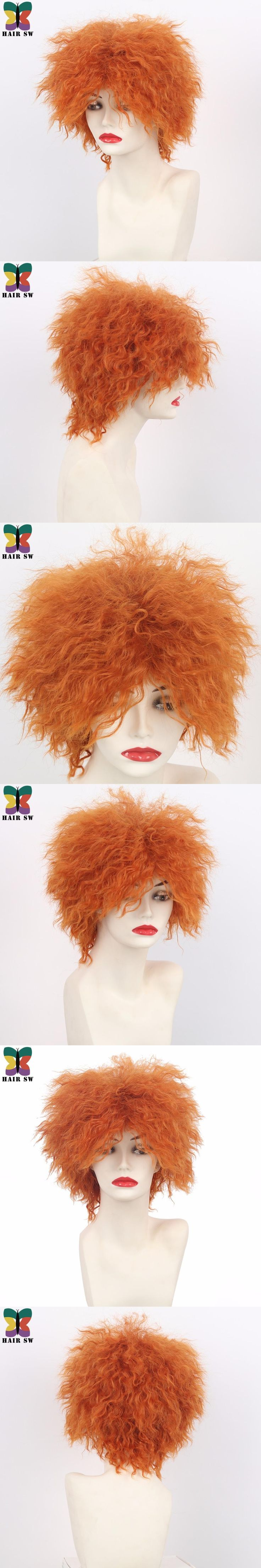 HAIR SW Short Curly Fluffy Synthetic Cosplay Mad Hatter Wig Orange High Temperature Fiber Movie Wigs For Halloween Party City