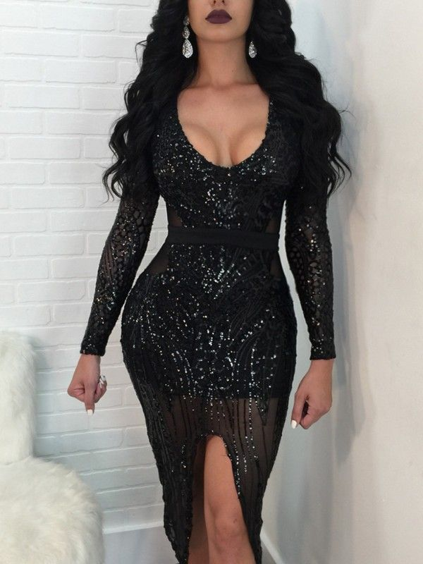 7038de8d5f Sequins U Neck Slit Slinky Bodycon Dress | IVROSE in 2019 | Dresses ...