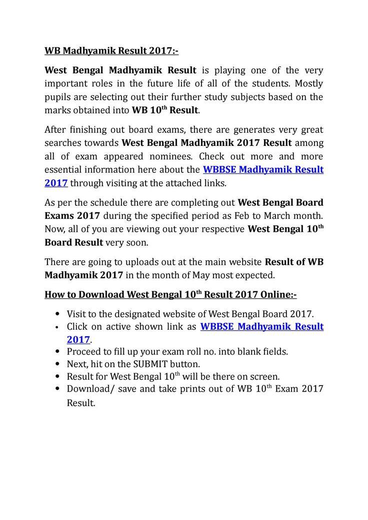 WB Madhyamik Result 2017 12th ExamExam TimeWest BengalTableBoard