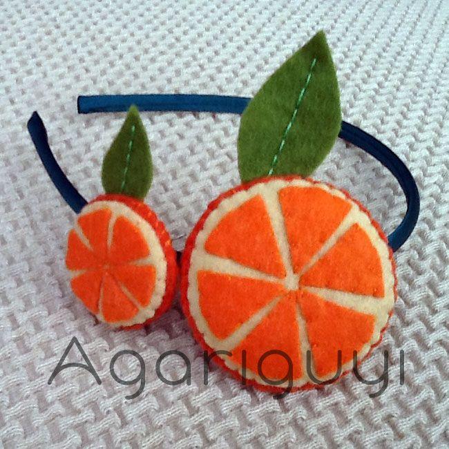 Diadema Naranjas hechas con Fieltro