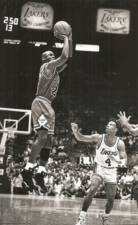 MJ with Dennis Scott looking on. Bulls vs Lakers