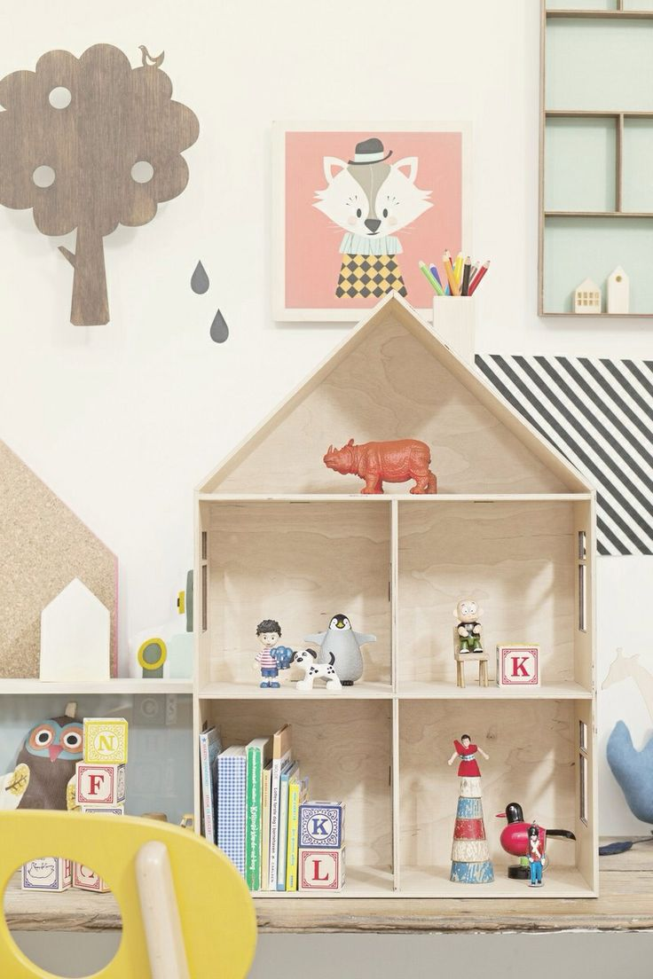 Love the idea of a dollhouse for shelving!