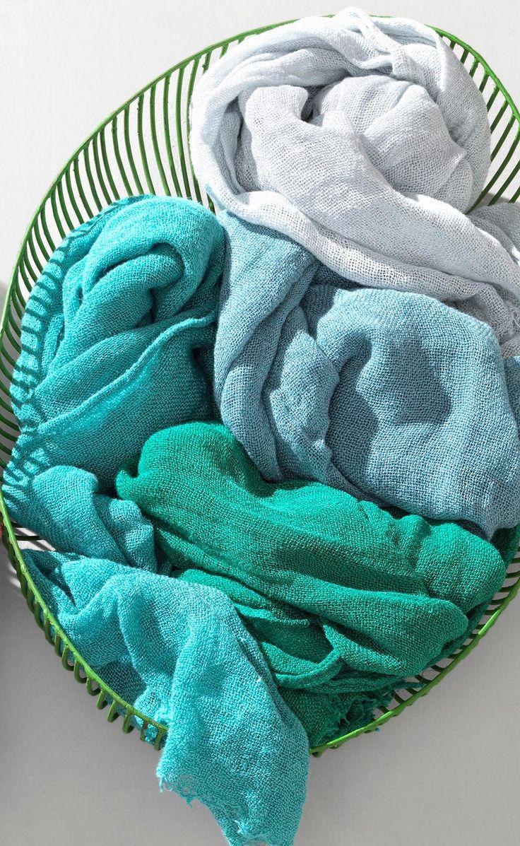 Society Limonta | Cink blue acquamarina linen gauze scarf  www.societylimonta.com