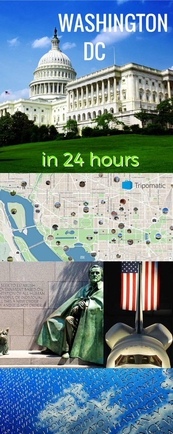 Washington DC Travel. What to do and what to see in this unique city?  Spend full day in #Washington DC  and don't miss out any of its highlights thanks to #Tripomatic suggested travel itinerary for #24hours in Washington DC. Got inspired along the way? Change a plan and make tailor made itinerary for yourself, as it fits you the most. http://www.tripomatic.com/trip-planner/#/?destination=city:366