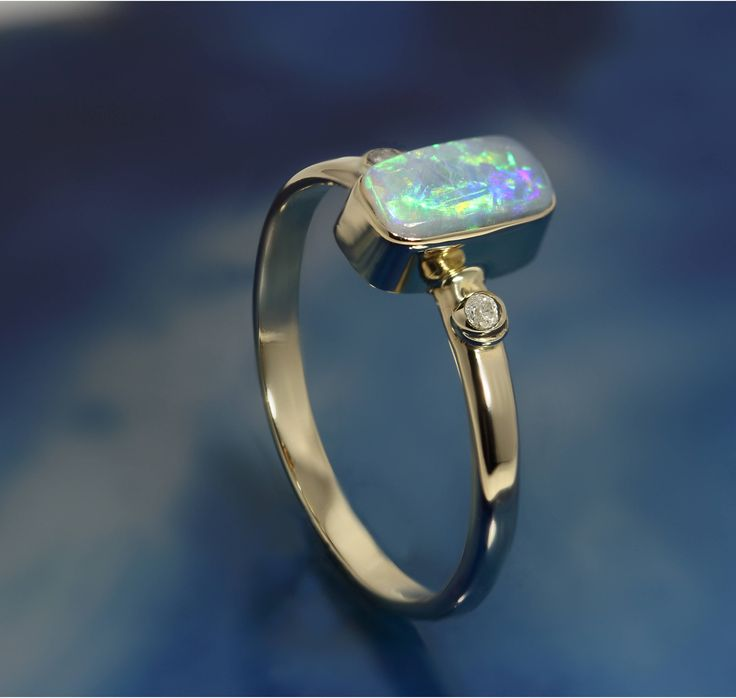 Solid Opal with 2 small Diamond in 14k Gold ring by DesertFlameOpals on Etsy