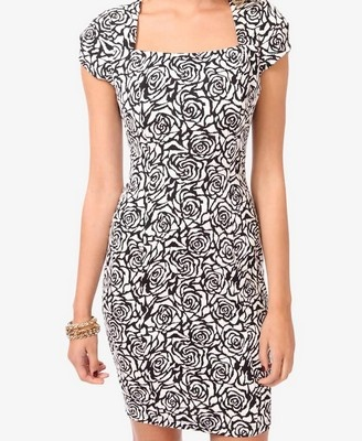 perfect for the spring black/white trend without breaking the bank Rose Matelasse Dress-f21
