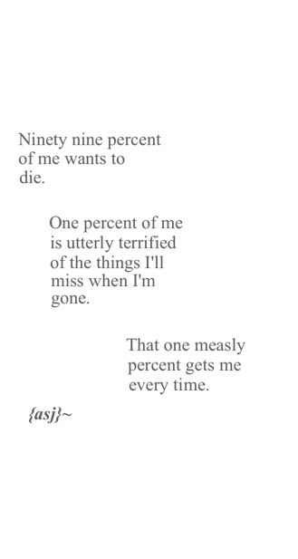 ninety nine percent of me wants to die one perfect of me is utterly terrified of…