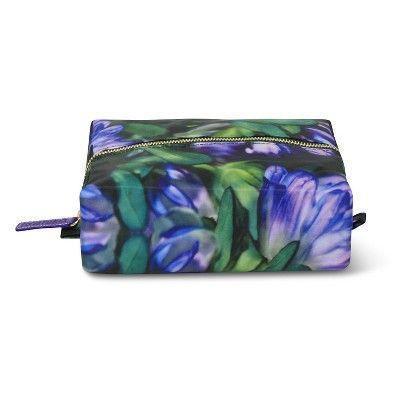 Sonia Kashuk Cosmetic Bag 2-Zip Purse Kit Blue Floral