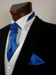 black suit with royal blue cravat - Google Search