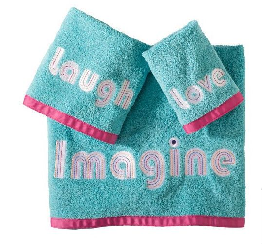 Inspirational 3 Piece Bath Towel Washcloth Hand Towel Set Blue with Pink Trim #Allure