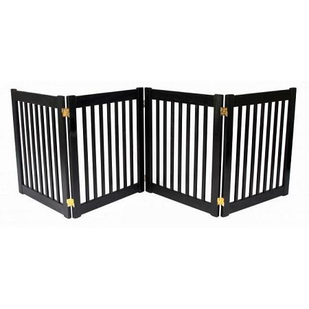 """Four Panel EZ Pet Gate - Small/Mahogany. Features:   27"""" Tall   Up to 72"""" Wide   All Wood Construction   Available in  Artisan Bronze, Black and Mahogany    Built to span;large open areas.The Four Panel EZ Pet Gates modular gates bring all new functionality to pet gates. With this collapsible pet gate;you be able to;block off any room in the house in a snap! Double action hinges allow for multiple set-ups so you can even block;those tough hallway angles.Protect your beautiful home..."""