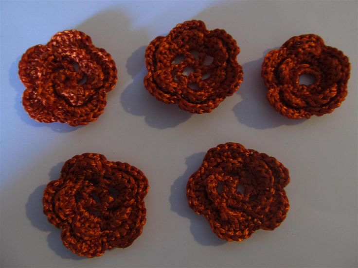 Handmade crochet flowers (5 pcs) Craft supplies Jewelry materials