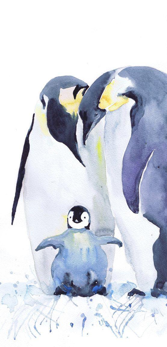 Penguin , watercolor print , family of penguins , Bird with chicks, Fine Art nursery decor, penguin baby , childrens art, Illustration  family of