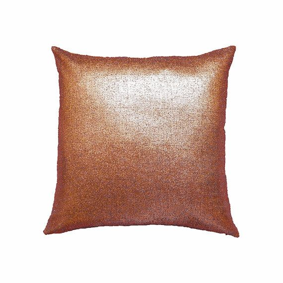 Metallic Pillow Cover Metallic Cushion Cooper by MirraDesignStudio