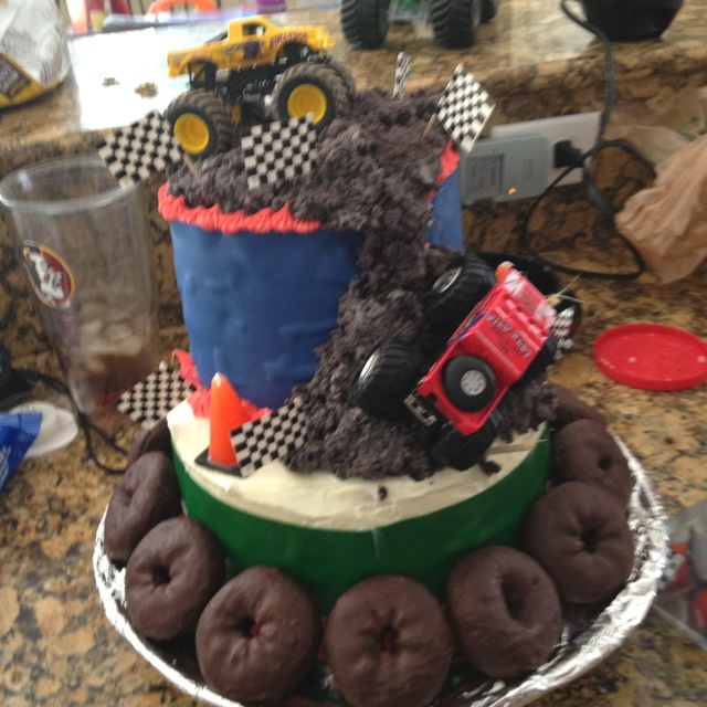 I want one for my birthday! hell i want a monster truck show on my birthday!  check it out: chocolate donuts as Monster Truck wheels