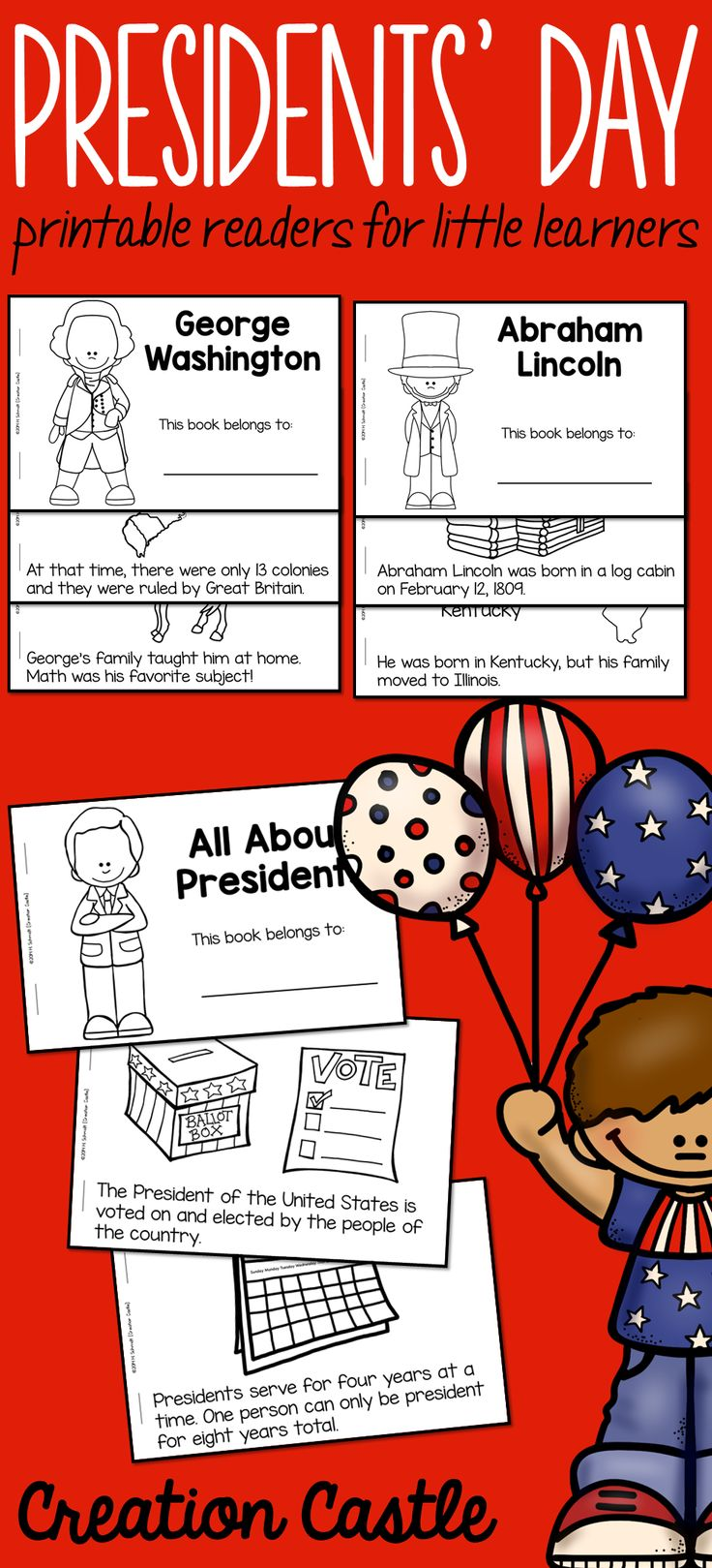 presidents day guided reading books first grade - First Grade Printable Books