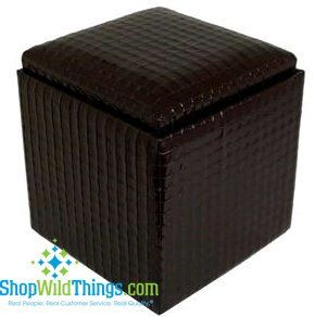 """CLEARANCE-Leather Ottoman with Storage - Black  Leather  17""""x18"""""""