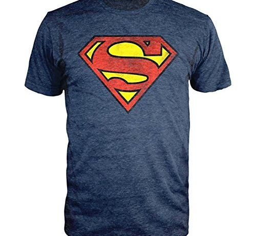 Superman Logo Navy Heather T-shirt Officially Licensed (M)