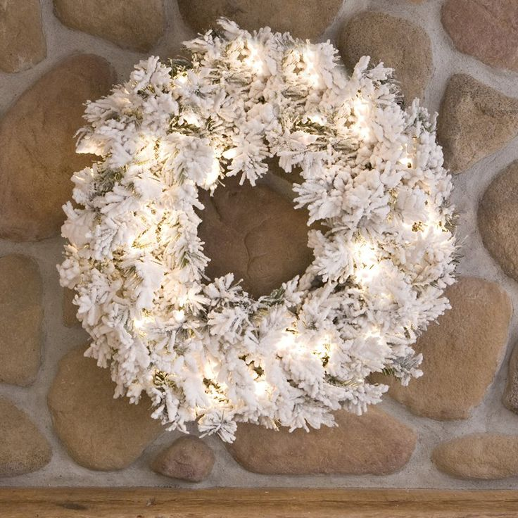30 in. Flocked Alaskan Pine Pre-lit Christmas Wreath - A806331
