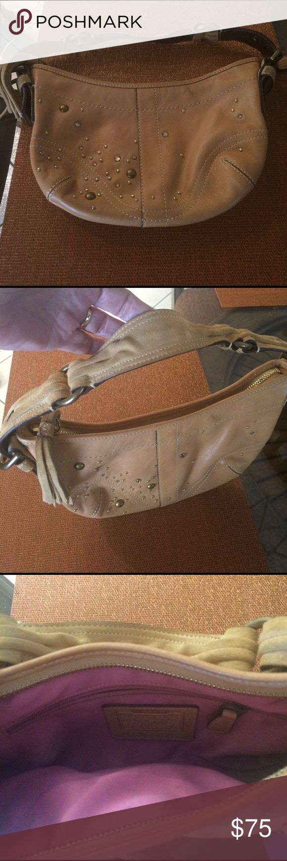 Embellished Coach hobo bag, A few sparkles and a few gold studs embellished this barely used Coach bag. Coach Bags Shoulder Bags