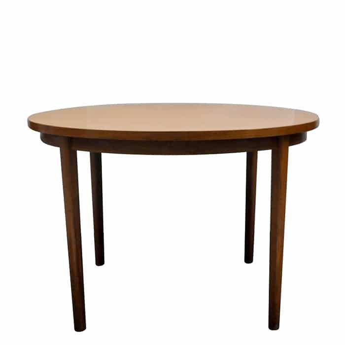 Duński, okrągły, rozkładany stół tekowy z lat 70.Stan bardzo dobry – bez uszczerbków i zarysowań.…