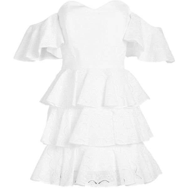 Caroline Constas Irene Mini Dress ($835) ❤ liked on Polyvore featuring dresses, white, short dresses, off-shoulder ruffle dresses, white off-shoulder dresses, off-the-shoulder dress and off-shoulder dresses