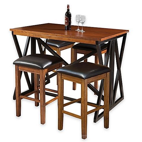intercon furniture siena 5piece breakfast bar with backless bar stools in blackcider