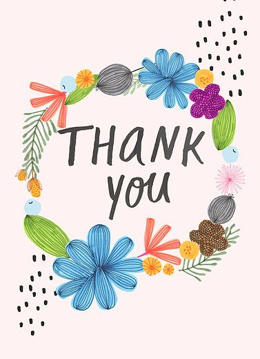Flowery hand lettered thank you card on mpix designed by tammie bennett