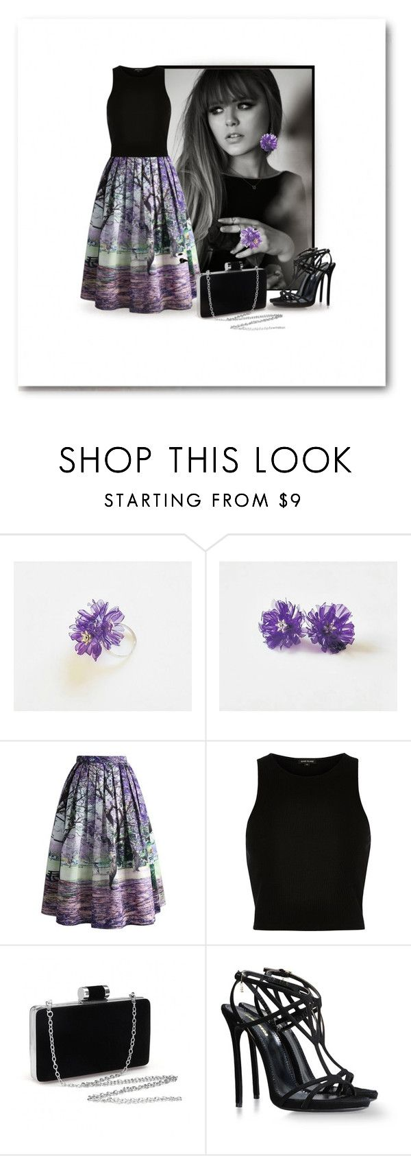 Purple & Black by styledonna on Polyvore featuring moda, River Island, Chicwish and Dsquared2