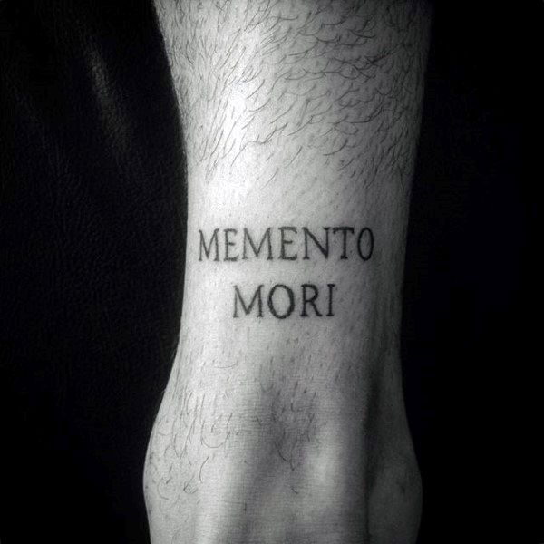 Back Of Leg Memento Mori Male Tattoos