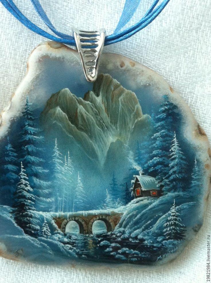 Купить Перевал - синий, перевал, кулон, лаковая миниатюра, живопись маслом, роспись по камню