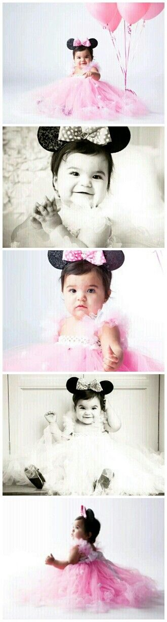 Minne Mouse Birthday Photo shoot for toddlers with long pink tutu dress.