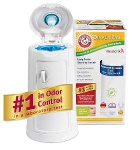 Munchkin Arm and Hammer Diaper Pail ~ Excellent with odor control with baking soda insert, must use special bags. ~$43. More at http://www.lucieslist.com/baby-registry-basics/diapering/#diaper-pails