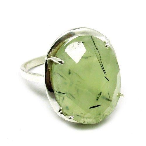 Gemstone Silver Ring Prehnite Baguette Shape Silver RingARCT1215-3 #Handmade
