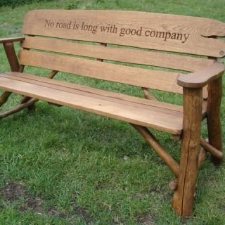 Good Rustic Outdoor Wooden Benches | ... Rustic Oak Garden Bench With Carved  Inscription
