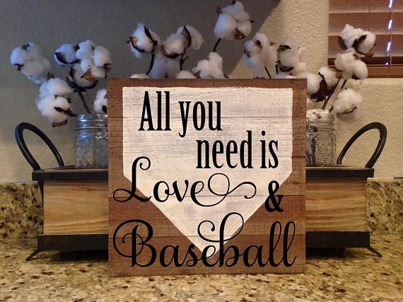 All You Need is Love and Baseball, Wood Sign Entryway Sign, Baseball Decor, Baseball Mom, Baseball Sign, Sports Theme, Baseball Season  Hand Painted Wood Sign  10in x 10in x 2in Wood painted with acrylic paints and clear matte sealant for protection.   All signs are painted at my dining room table and not on an assembly line so small differences may occur.