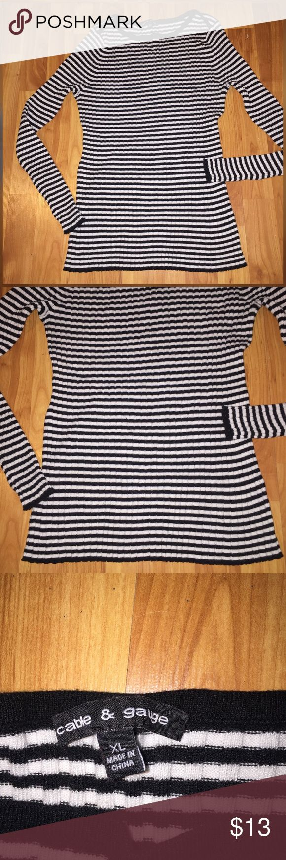 Striped black and white long sleeve blouse Long sleeve black and white cable and gauge shirt. Size xl and stretches a lot . Worn a couple of time and no flaws 167 inches armpit to armpit, 26 inches in length Cable & Gauge Tops Tees - Long Sleeve