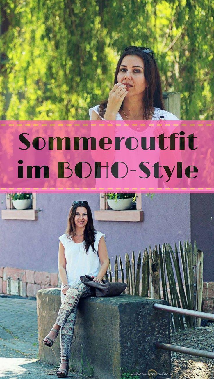 Boho ist nach wie vor im Trend und hier ist meine Inspiration für ein luftiges Sommeroutfit. Mode ab 40, über40, Sommerhose, weißes häkelshirt, hippiemode schuhtrends, plateausandalen
