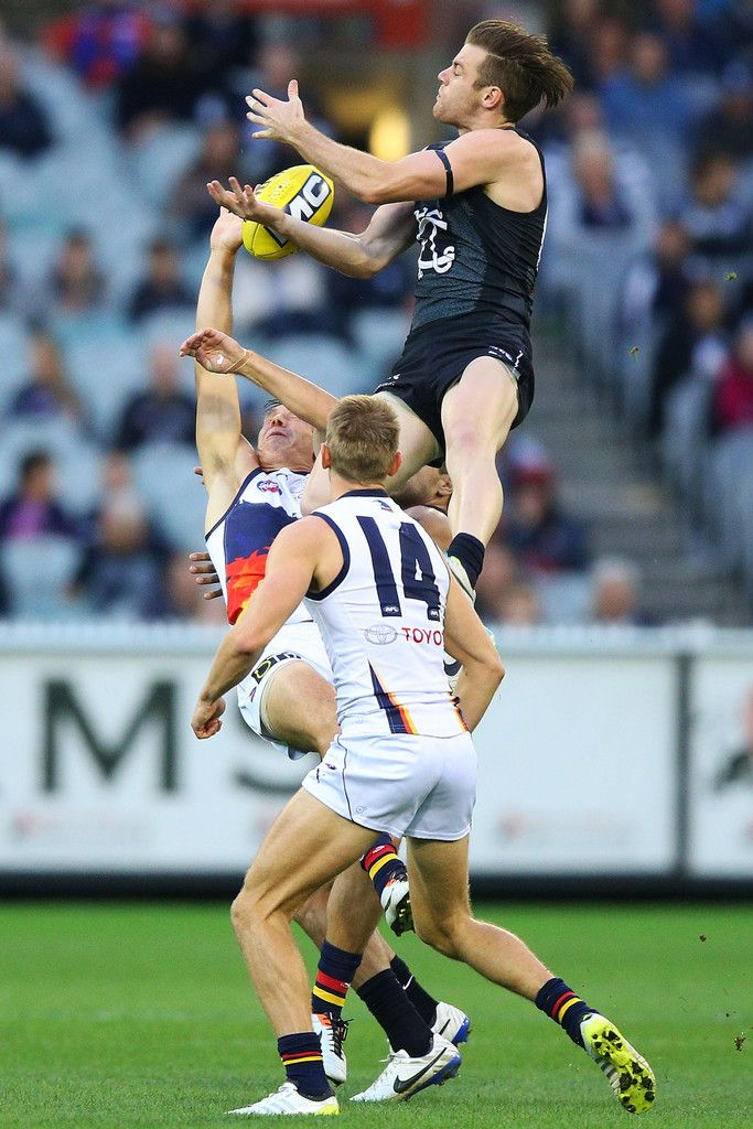 Sam Docherty of the Blues leaps for the ball during the round 10 AFL match between the Carlton Blues and the Adelaide Crows at Melbourne Cricket Ground on May 25, 2014 in Melbourne, Australia. (May 24, 2014 - Source: Michael Dodge/Getty Images AsiaPac)