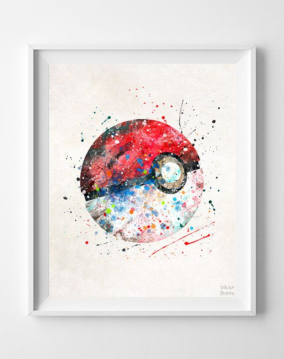 Pokeball Print Watercolor Pokemon Poster Animation by InkistPrints