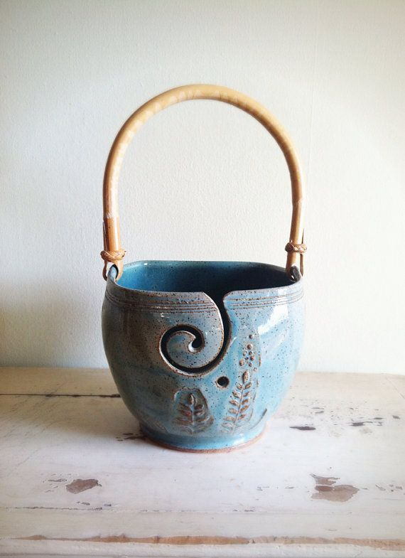 Yarn Bowl Blue  Knitting bowl with handle by redhotpottery on Etsy, $46.00