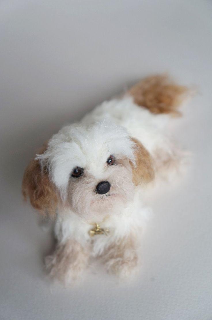 Needle Felted Cockapoo, Custom Pet Portrait, Felt Cockerpoo Spoodle Dog, Replica…