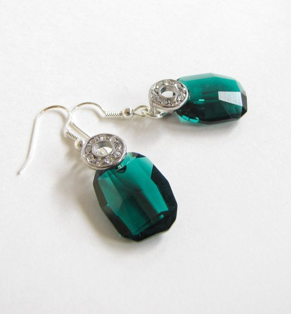 emerald green things | Emerald Green Earrings Swarovski Crystals by ... | Drool..... ; p.…