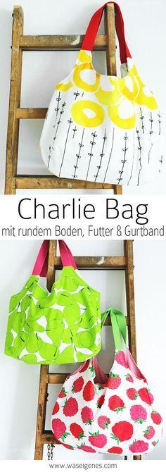 Charlie Bag mit rundem Boden, Futter und Gurtband. Dadurch: geringerer Stoffverbrauch!