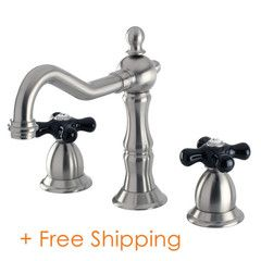 Kingston Brass Heritage Onyx Widespread Lavatory Faucet With Black Porcelain Cross Handle, satin nickel KS1978PKX